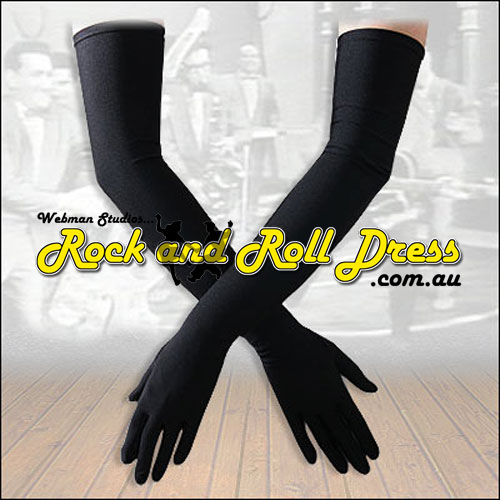 Burlesque black Lycra rock and roll gloves