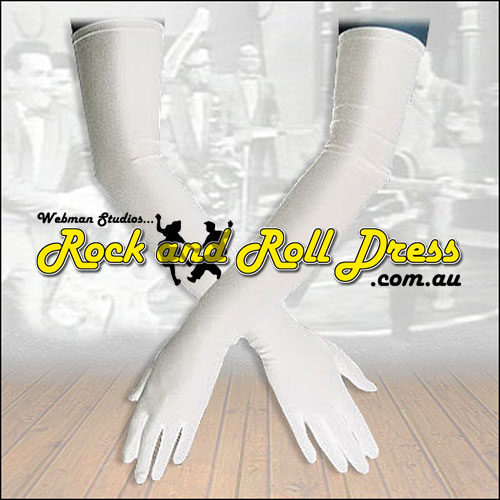 Burlesque white Lycra rock and roll gloves