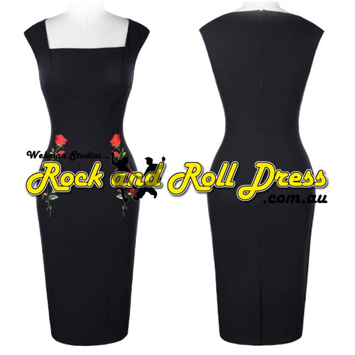 Rose Applique rock and roll pencil dress S-XL