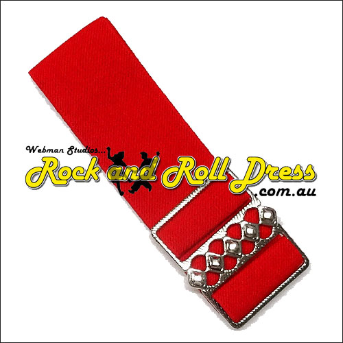 50mm wide adjustable red rock and roll elastic cinch belt