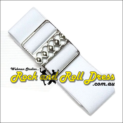 50mm wide adjustable white rock and roll cinch belt